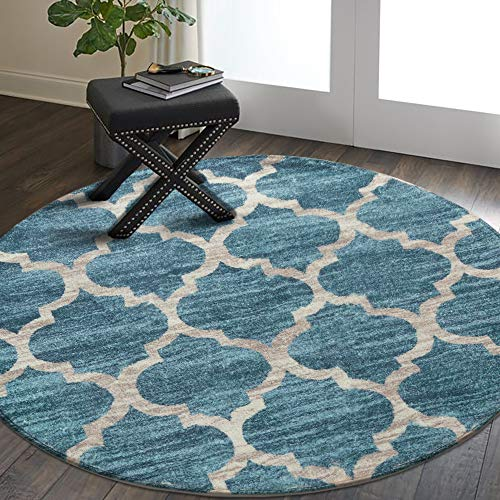 Lahome Moroccan Area Rug - 4' Diameter Faux Wool Non-Slip Area Rug Small Accent Distressed Throw Rugs Floor Carpet for Door Mat Entryway Bedrooms Laundry Room Decor (Round - 4' Diameter, Blue)