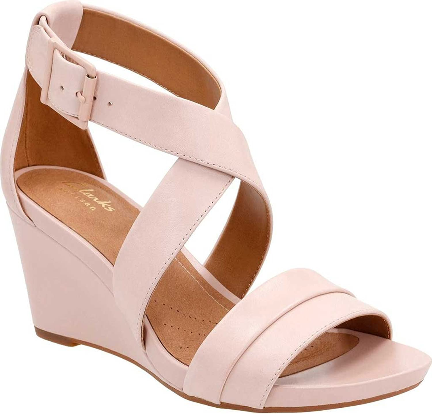 Clarks Womens Acina Leather Open Toe Casual Platform Sandals, Pink, Size 9.0