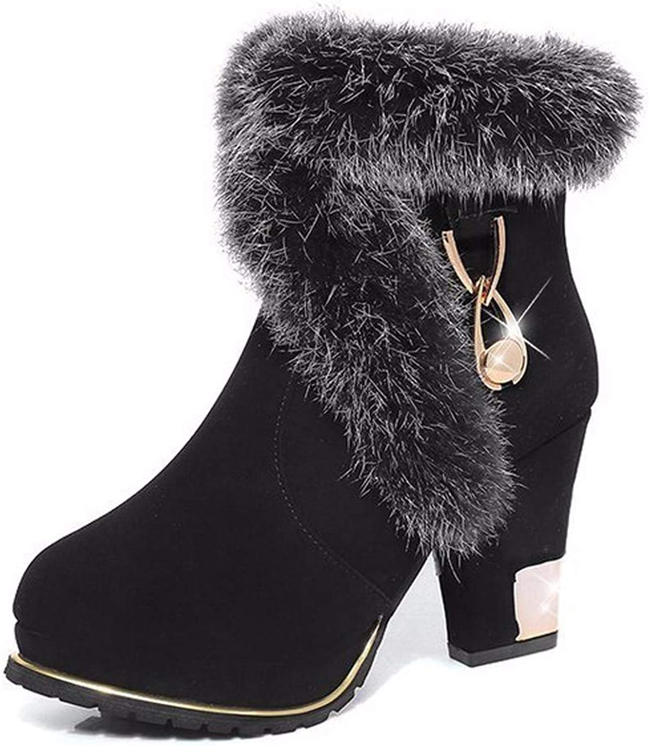 SFSYDDY Popular shoes in Winter Martin Boots with High 9Cm Cashmere Cotton shoes Autumn Rough Ankle Boots Wild Boots.