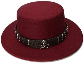 HaiNing Zheng Kid Children Vintage 100% Wool Wide Brim Top Cap Pork Pie Pork-pie Bowler Hat Skull Bead Leather Band (54cm/Adjust)
