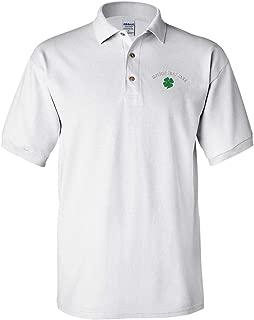 Custom Polo Shirt Four Leaf Clover Embroidery Design Cotton Golf Shirt for Men