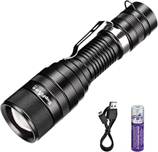 Supfire Led Flashlight,Brightest Tactical Flashlight 1100 High Lumens Cree Led Handheld Torch with 18650 Battery and Charger Zoomable Flashlight 5 Modes Perfect for Hiking Camping Cycling