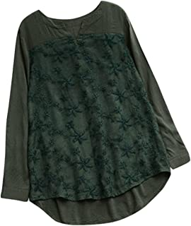 iYYVV Women Floral Lace Embroidered Tops V-Neck Shirt Long Sleeve Casual Blouse