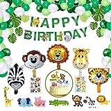 Geburtstagsdeko für Jungen Mädchen Kinder, NOCHME 65 STK Dschungel-Safari-Thema Geburtstag Deko...