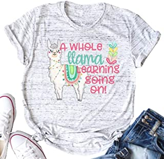 Funny Teacher T Shirt Llama Branch Graphic Tees Women A Whole Llama Learning Going On Letter Print Shirts Summer Tops