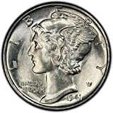 1941 Gem Brilliant Uncirculated Silver Mercury Dime Dime Choice Brilliant Uncirculated