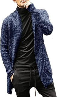Howely Men Shawl Open Front Sweater Trench Coat Knit Long Sleeves Cardigan