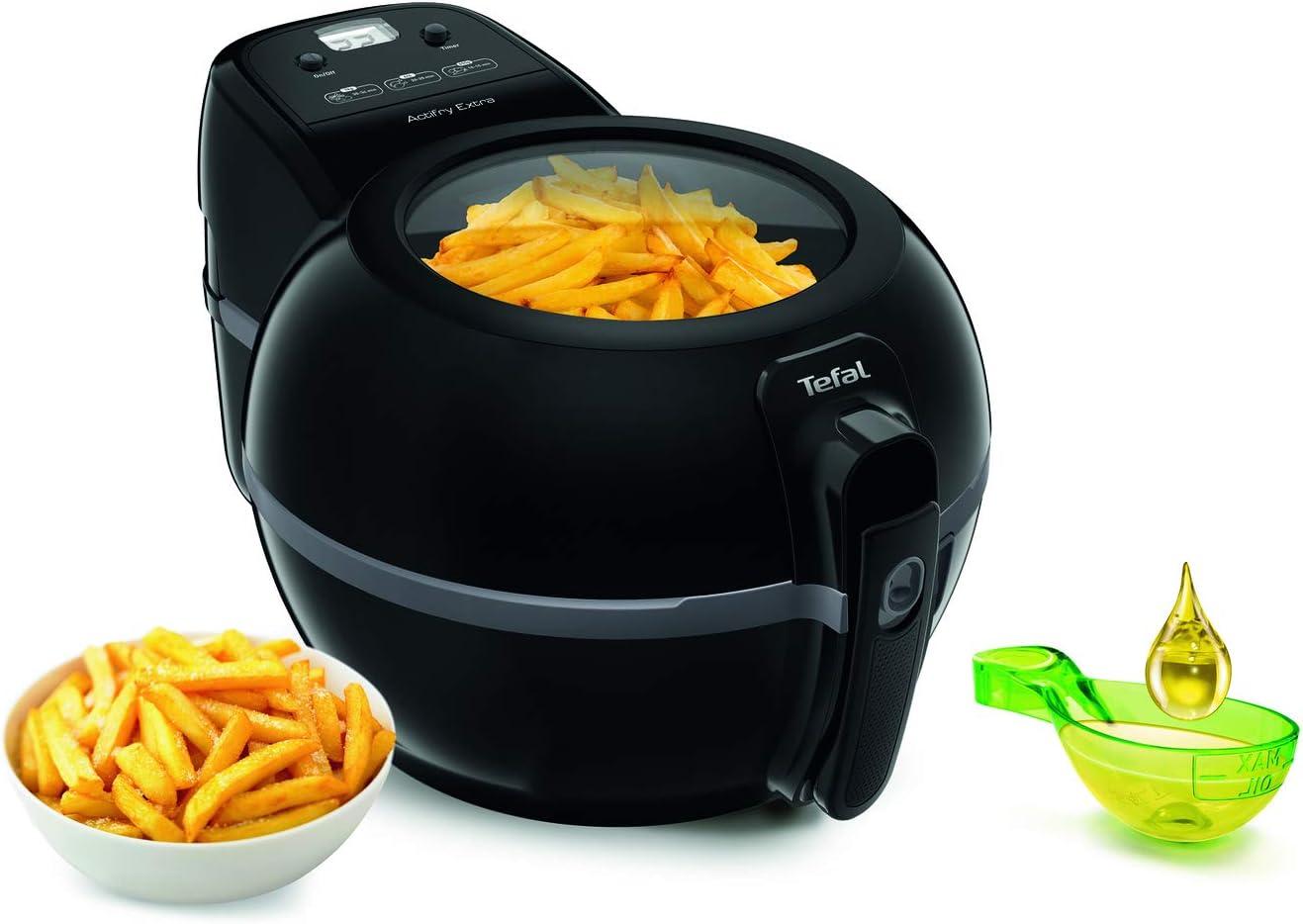 Tefal Actifry Extra Black FZ7228 Freidora de aire sana, capacidad 1.2 kg hasta 6 personas, poco aceite, no olor, 300 recetas saludables cocina
