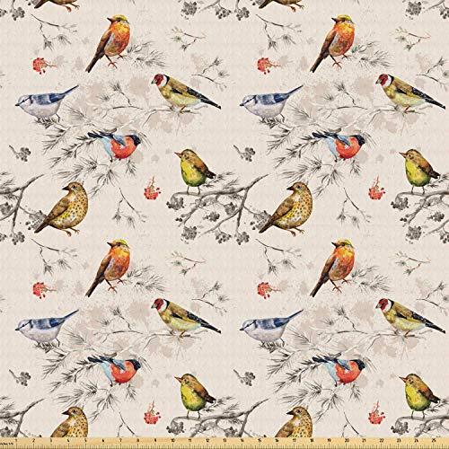 Juego de adhesivos decorativos para azulejos, diseño de pájaros y gorriones, estilo vintage, color beige, fondo de tonos voladores, 12 unidades
