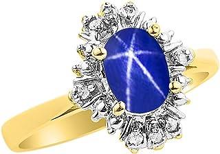 Anillo de diamantes y zafiro de estrella azul en oro amarillo de 14 quilates con diamantes abanicos
