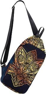 MASSIKOA Lotus Flower Shoulder Backpack Sling Chest Crossbody Bag Travel Hiking Daypack for Men Women