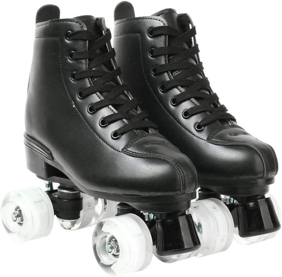 Redson Women Roller Skates PU Leather Four-Wheel Roller Skates High-top Roller Skates Shiny Roller Skates for Girls Unisex with Bag