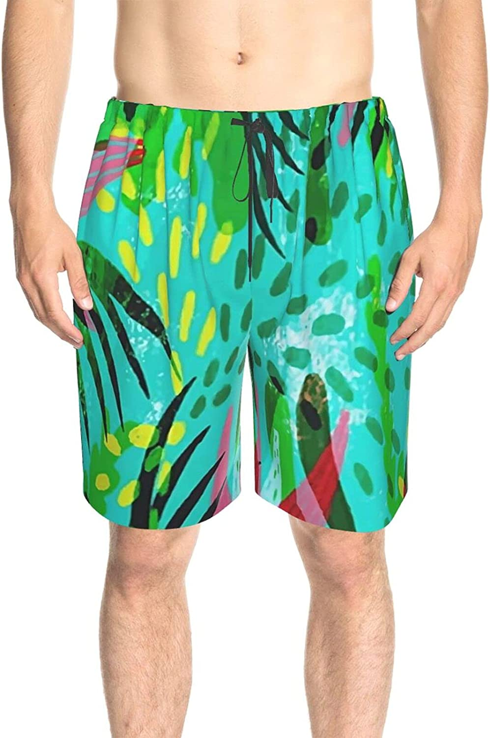Mens Swim Trunks Tropical Green Leaf Swim Board Shorts Quick Dry Cool Surf Beach Shorts with Liner
