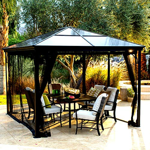 10 x 12 FT Gazebo With Polycarbonate Top And Insect Netting Steel And...