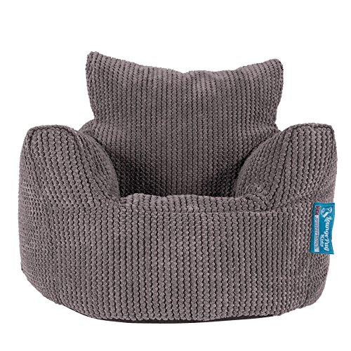Lounge Pug - Pom Pom - CHILDRENS Armchair - Kids Bean Bags UK - CHARCOAL GREY