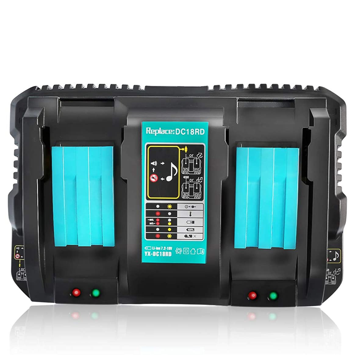 Ybang マキタ DC18RD 互換充電器 2口充電器 マキタ 14.4V/18Vリチウムイオンバッテリ 対応 BL1430 BL1440 BL1450 BL1460 BL1815 BL1830 BL1840 BL1850 BL1860 BL1430B BL1460B BL1830B BL1850B BL1860B など 充電可能 2本同時に充電 本体のみ 充電完了メロディー付き 1年保証