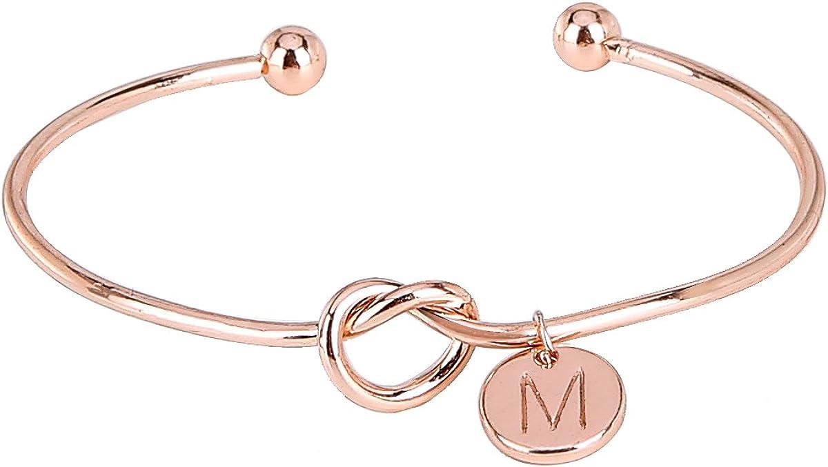 ASHMITA Rose Gold Love Knot Bangle for Women Charm Cuff Bracelet Bridesmaid Jewelry