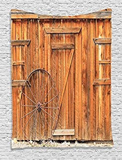 Ambesonne Western Decor Collection, Ancient West Rural Town Rustic Weathered Wooden Door and Vintage Wagon Wheel Picture, Bedroom Living Boys Room Dorm Accessories Wall Hanging Tapestry, Peru