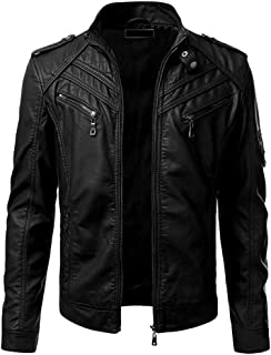 wuliLINL Men Faux Leather Zip Up Moto Biker Jacket with Stitching Detail Long Sleeve Coat Top