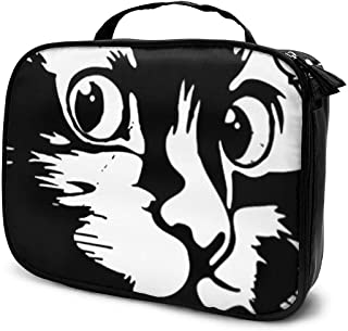 Obey Cat Large Travel Cosmetic Bag Cute Hanging Travel Toiletry And Makeup Organizer With Many Pockets For Women Men Girl Black