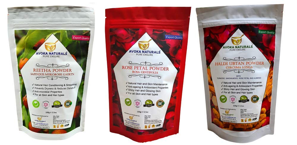 Avoka Naturals Reetha Rose Popular product Cash special price Petals And Haldi Ubtan powder P Combo