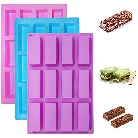 Senhai Paquete de 3 moldes de silicona rectangulares estrechos, Barras de proteínas de 12 cavidades Barra de energía Cereal Bar Maker Pastel de ...