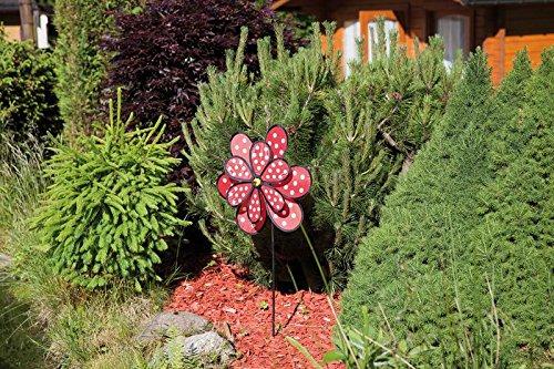 'Plastique Moulin à vent Fleurs rouges Ø 41 cm, hauteur 100 cm Neuf Jeu Vent Cylindre de décoration de jardin