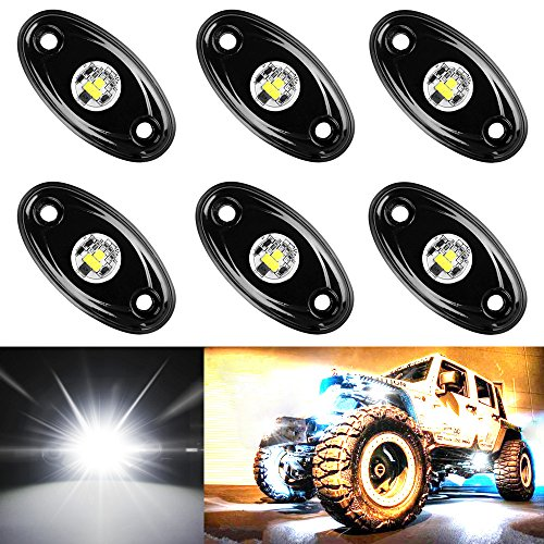 Amak 6 Pods LED Rock Lights Kit White Underbody Glow Trail Rig Light Waterproof Underglow LED Neon Lights for JEEP Off Road Trucks Car ATV SUV Vehicle Boat – White