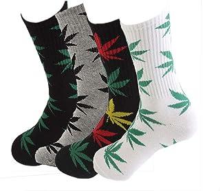 TTD, 4 packs unisex hoja de malezas impresa algodón calcetines hoja de arce impreso calcetines atletismo deportes marihuana alta tripulación calcetines