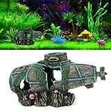 caralin Aquarium Fish Tank Ornament Sunken Submarine Hiding Cave Landscaping Decoration Escape House
