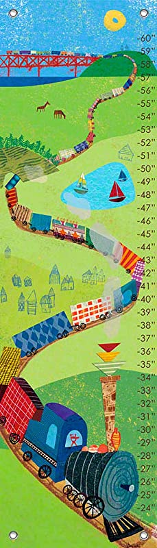 Oopsy Daisy Fine Art For Kids Choo Choo Train Growth Chart By Jenny Kostecki Shaw 12 By 42 Inch
