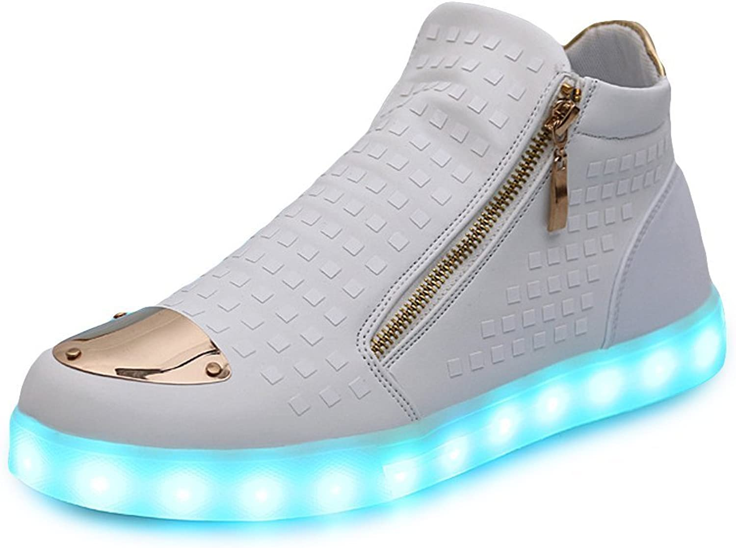 Sexphd Unisex Women Men LED Light Up Sneakers High Top shoes USB Charging Trainers Birthday Gift