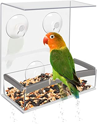 Number-one Window Bird Feeder with Super Strong Suction Cups Bird House Feeder High Capacity Seed Removable Sliding Tray with Drain Holes Bird Watching Gifts for Bird Watching