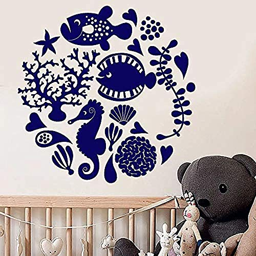 Muursticker Decal Aquatic Animal Muursticker Cartoon Fish Aquarium Zee Algen Kids Slaapkamer Badkamer Kwekerij Interieur Decor Glazen Stickers 57 * 57Cm