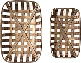 Set of 2 Rustic Farmhouse Style Tobacco Baskets