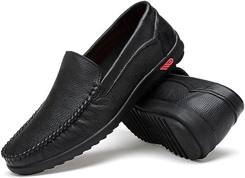 2018 Mocassins Chaussures Homme Mocassins de Penny de Conduite pour Hommes Bare Vamp Mocassins de Bateau Décontracté Mocassins en Caoutchouc Souple Chaussures Homme d'été (Couleur   Noir, Taille   42 EU)