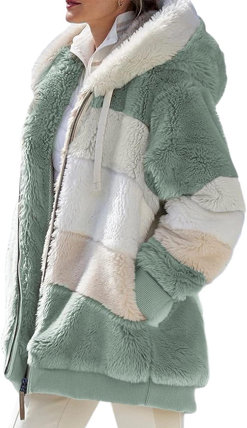 PAODIKUAI Womens Warm Alternative dealer Fuzzy Fleece Color Hooded Jacket Coat Bloc New York Mall