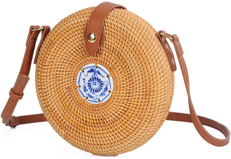 Bohemia Style Rattan Straw Bag Beach Travel Tile Embellish Buckle