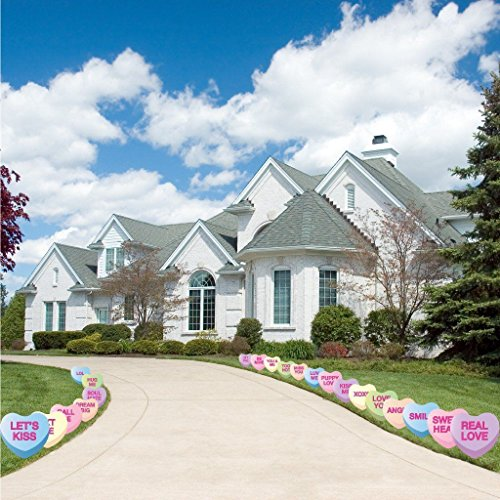 VictoryStore Yard Sign Outdoor Lawn Decorations: Candy Heart Valentine's Day Pathway Markers - Set of 21