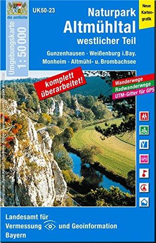 UK50-23 Naturpark Altmühltal, westlicher Teil: Gunzenhausen, Weißenburg i.Bay., Monheim, Altmühl-u. Brombachsee,Treuchtlingen, Donauwörth, Harburg ... Karte Freizeitkarte Wanderkarte)