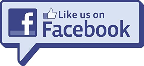 Two (2) Like Us on Facebook Sticker Decal | Label for Shop Window, Restaurant Door, Bar, Hotel