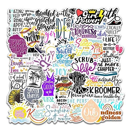 Pegatinas estéticas 50-Pcs Stickers Letras en inglés Citas Inspiradoras Pegatina de Dibujos Animados para portátil Funda de monopatín Casco