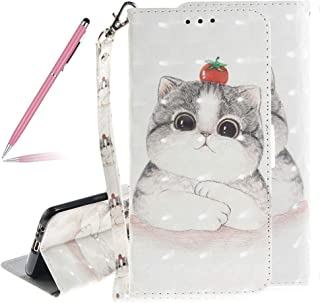 3D Colorful Painted Cute Cat Pattern Soft PU Leather Case for Samsung Galaxy A8 2018,SKYXD Luxury Shiny Flip Folio Wallet Magnetic Closure with Kickstand Feature Stand Card Slots Full Body Shockproof Protection Case with Wrist Strap for Samsung Galaxy A8 2018