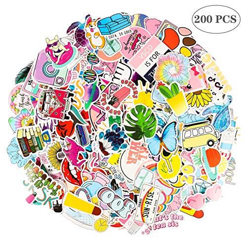 Gitua 200 Stück Aufkleber Mädchen, Wasserdicht Vinyl VSCO Stickers für Auto Motorrad Fahrrad Skateboard Koffer Laptop PS4 und Mehr