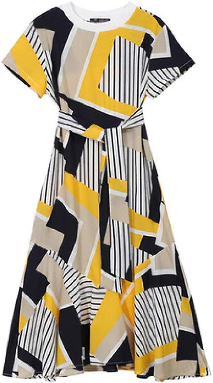 ZENWEN 2019 Summer New Women's Korean Fashion Skirt Round Neck Print Dress