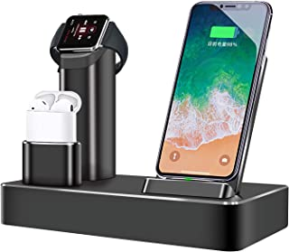 Wireless Charger 80W 6 in 1 Aluminum Wireless Charger Station Stand Wireless Charging Stand Phone Stand Compatible with Airpods Watch Series 4/3/2/1 iPhone Xs MAX/XR/XS/X/8/8Plus by KPAO (black1)