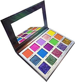 15 Colors Glitter Eyeshadow Palette, Everfavor Pigmented Matte Shimmer Eyeshadow Palette Bright Eye Shadow Makeup Palettes Waterproof Long Lasting Blendable Colorful Cosmetics, Vegan&Cruelty-Free