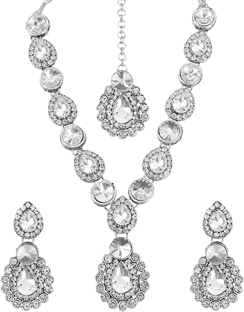 MUCH-MORE Indian Bollywood Bridal Necklace Earring with Maang Tikka Gold Tone Jewelry Set for Women