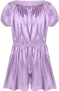 Men's Short Sleeve Soft Shiny Frilly Satin Dress Pants Nightwear Girly Pajamas Sissy Lingerie