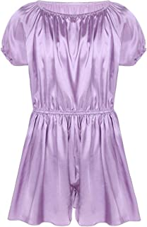 inhzoy Men's Sissy Lingerie Frilly Satin Elastic Waist Dress Pants Ruffles Pajamas Nightwear